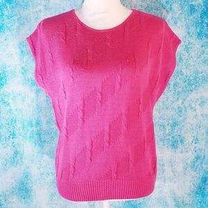 VTG 80s Pink Short Dolman Sleeve Cable Knit Top